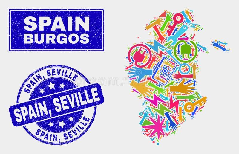 Mappa della provincia di Burgos del collage e guarnizione industriali del bollo della Spagna graffiata, Siviglia illustrazione vettoriale
