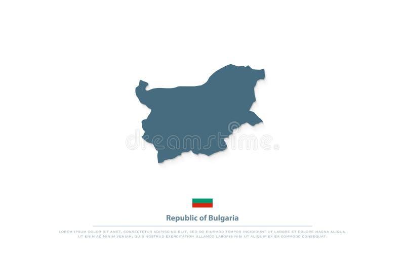 Mappa della Repubblica Bulgara e bandiera ufficiale isolata royalty illustrazione gratis