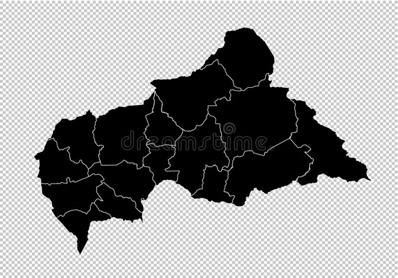 Mappa della Repubblica centroafricana - mappa nera dettagliata di livello con le contee/regioni/stati di Repubblica centroafrican royalty illustrazione gratis
