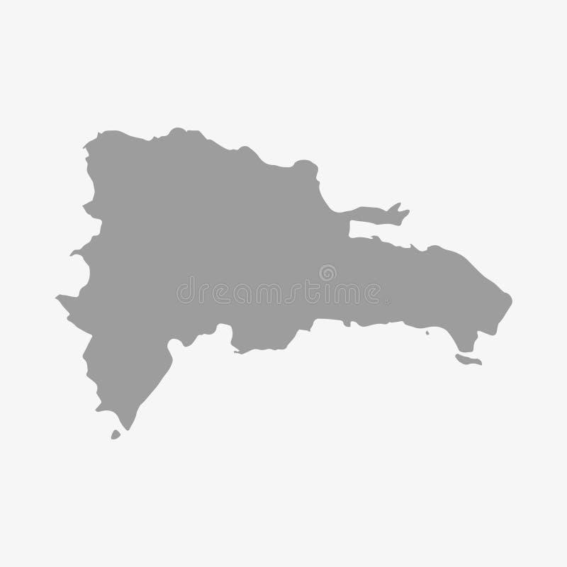 Mappa della Repubblica dominicana nel gray su un fondo bianco illustrazione vettoriale