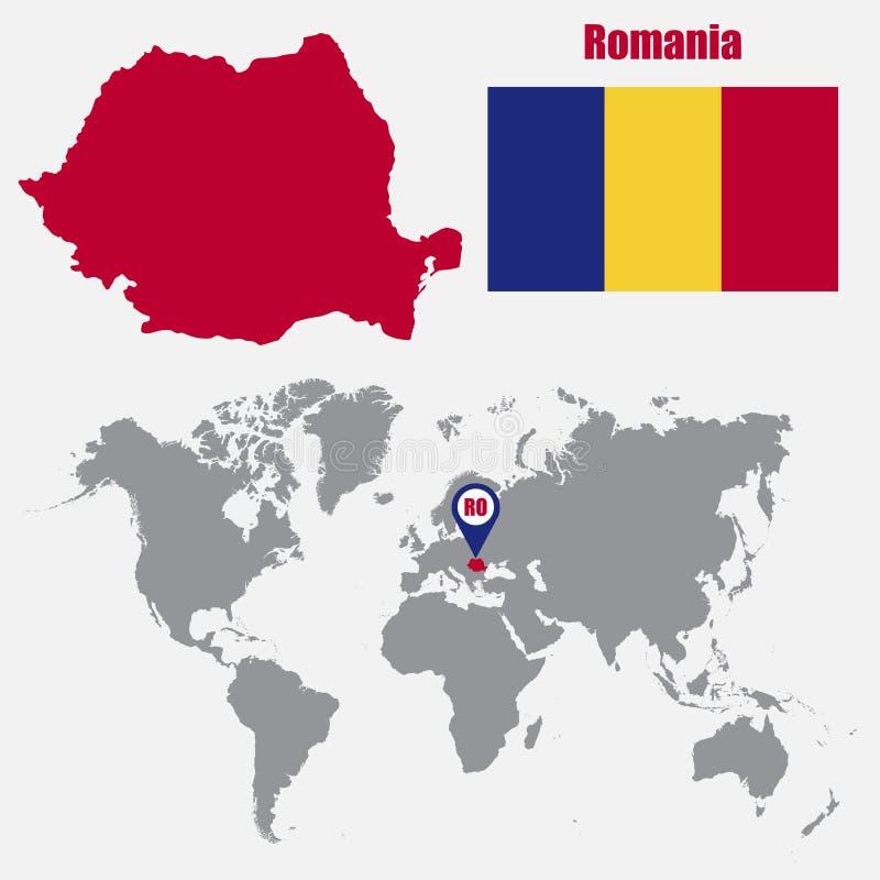 Mappa della Romania su una mappa di mondo con il puntatore della mappa e della bandiera Illustrazione di vettore illustrazione vettoriale