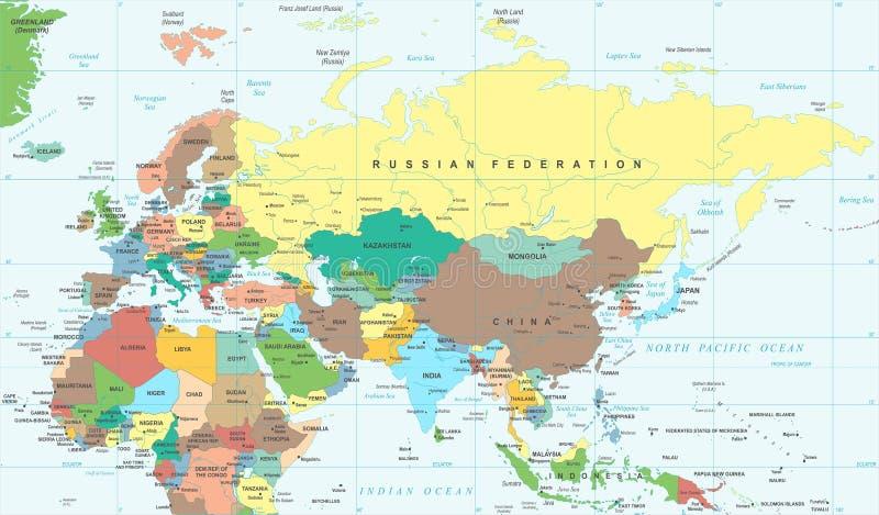 Mappa della Russia Cina India Indonesia Tailandia Africa di europa dell'Eurasia - illustrazione di vettore illustrazione vettoriale