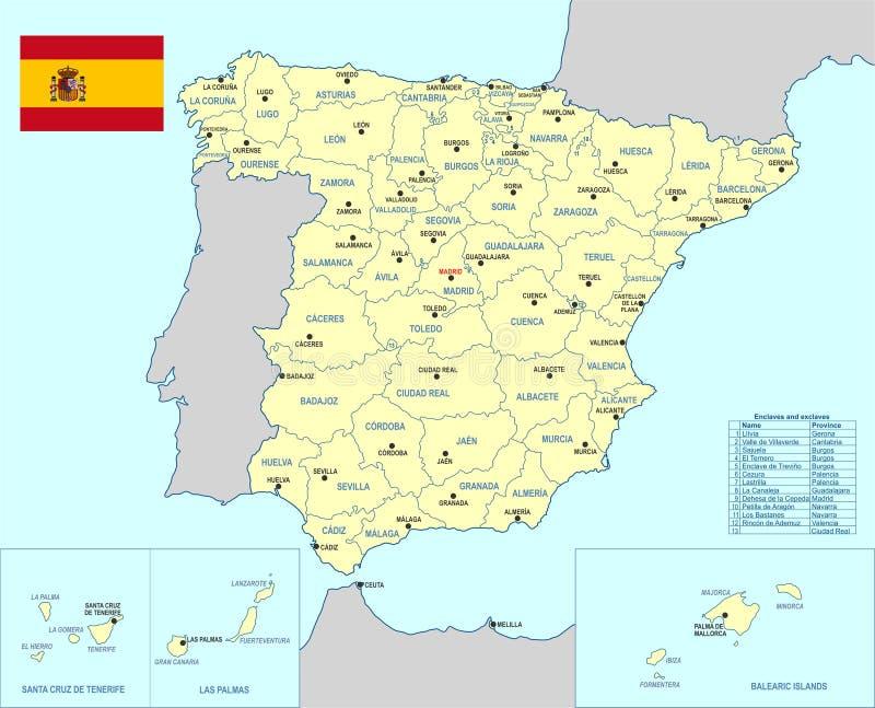 Mappa della Spagna illustrazione di stock
