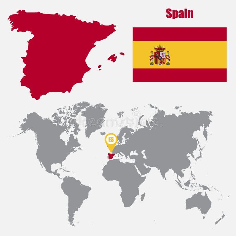 Mappa della Spagna su una mappa di mondo con il puntatore della mappa e della bandiera Illustrazione di vettore illustrazione vettoriale