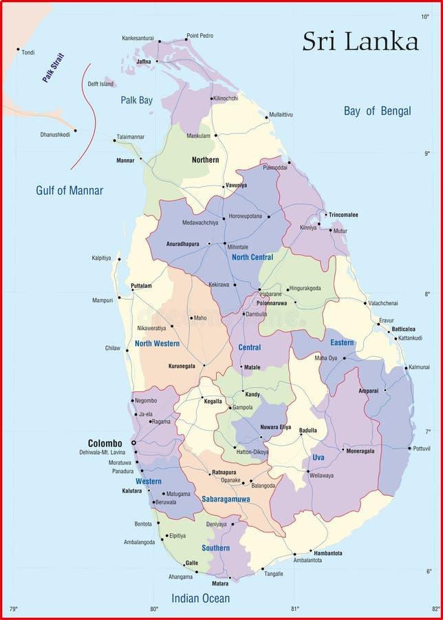 Mappa della Sri Lanka fotografia stock libera da diritti