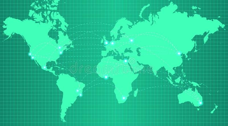Mappa della terra sul fondo verde d'avanguardia di pendenza illustrazione di stock