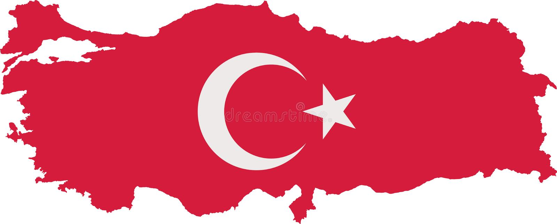Mappa della Turchia con la bandiera con due colori illustrazione vettoriale