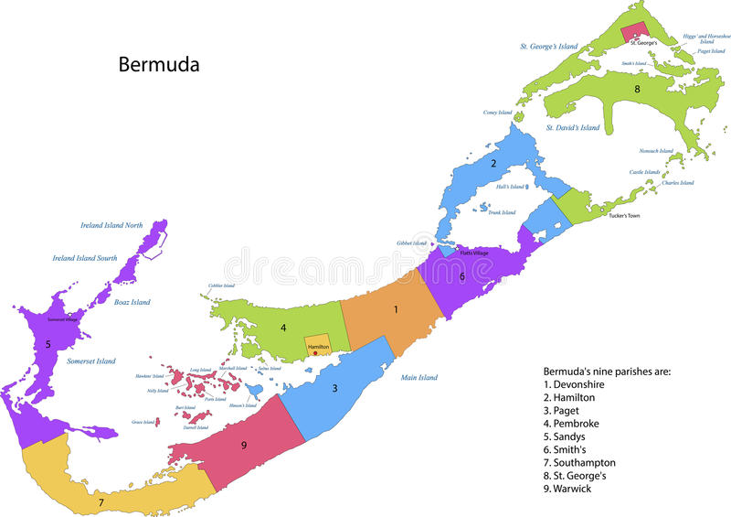 Mappa delle Bermude illustrazione vettoriale
