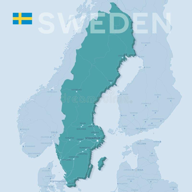 Mappa delle città e delle strade in Svezia illustrazione vettoriale