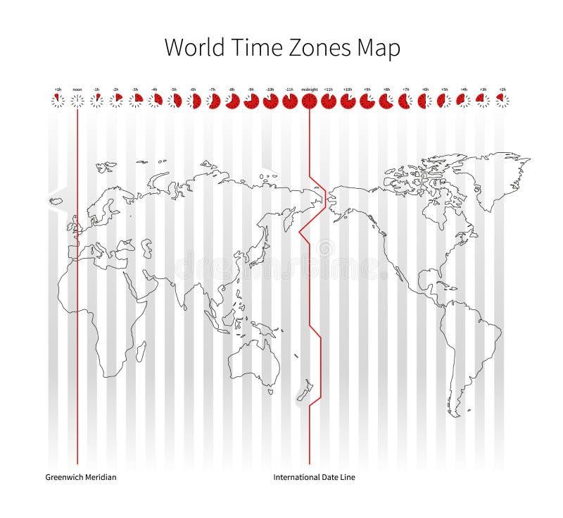 Mappa delle fasce orarie del mondo illustrazione di stock