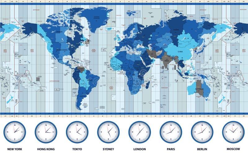 Mappa delle fasce orarie standard del mondo nei colori blu immagini stock libere da diritti