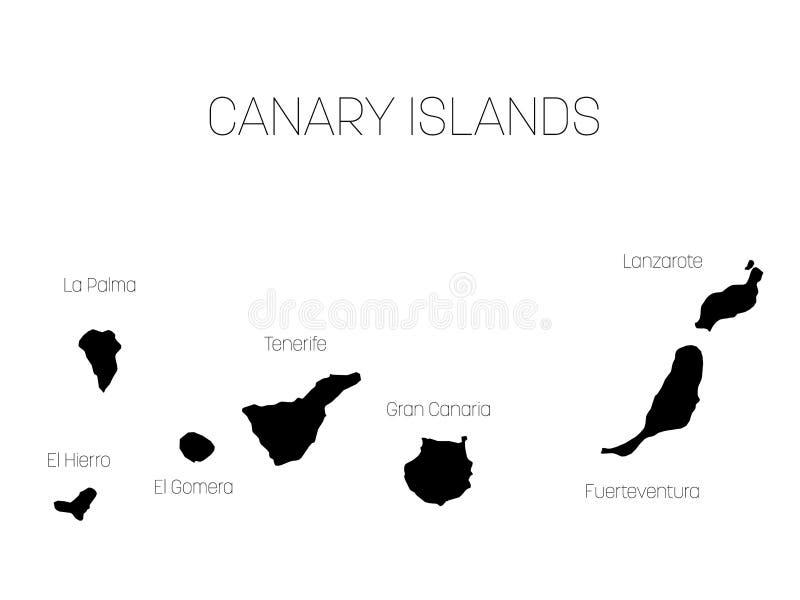 Spagna E Canarie Cartina.Mappa Delle Isole Canarie Spagna Con Le Etichette Di Ogni Isola El Hierro La Palma La Gomera Tenerife Gran Canaria Illustrazione Vettoriale Illustrazione Di Nero Cartografia 90439049