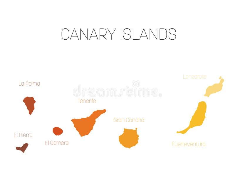 Tenerife Cartina Spagna.Mappa Delle Isole Canarie Spagna Con Le Etichette Di Ogni Isola El Hierro La Palma La Gomera Tenerife Gran Canaria Illustrazione Vettoriale Illustrazione Di Nero Cartografia 90439049