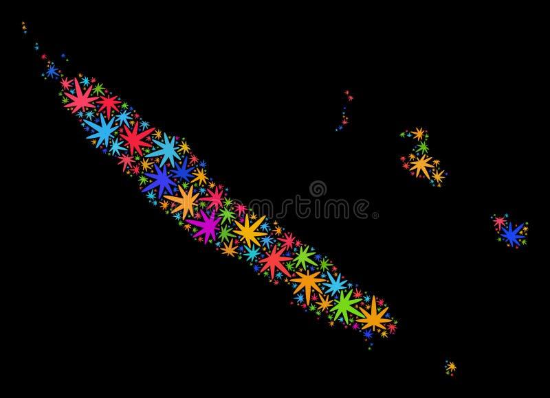 Mappa delle isole della Nuova Caledonia del mosaico delle foglie colorate Multi della marijuana illustrazione di stock