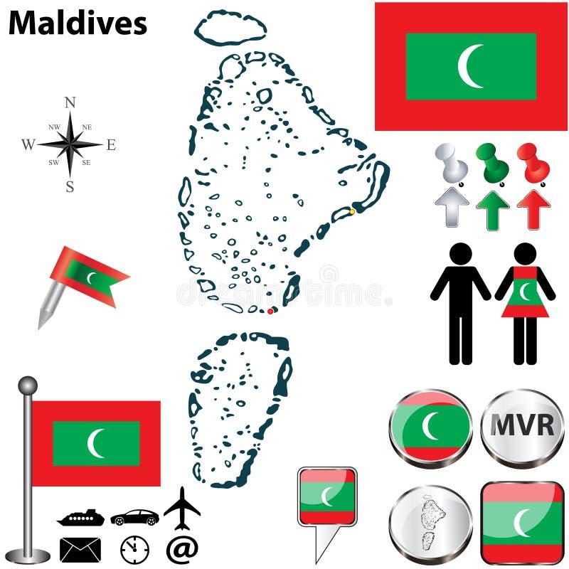 Mappa delle Maldive fotografia stock libera da diritti