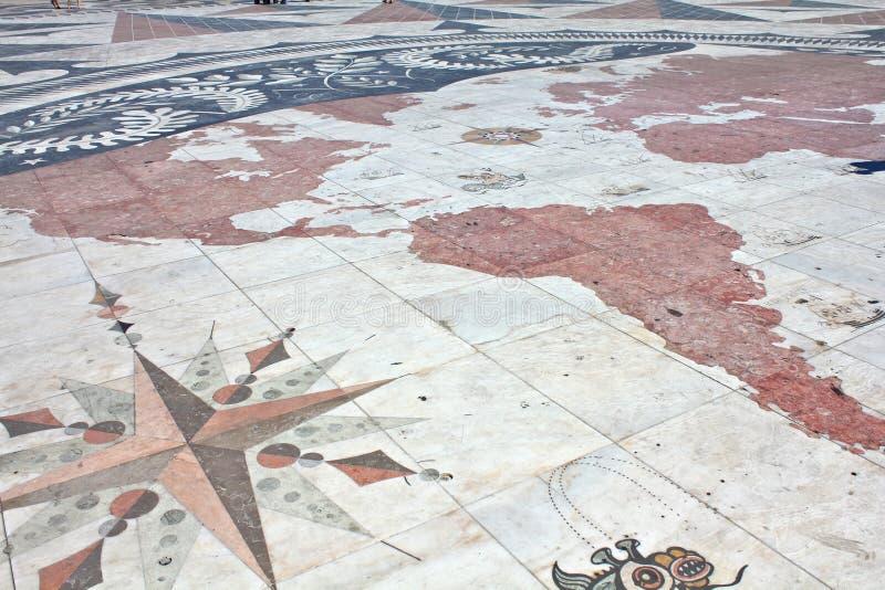 Mappa delle scoperte a Lisbona fotografia stock