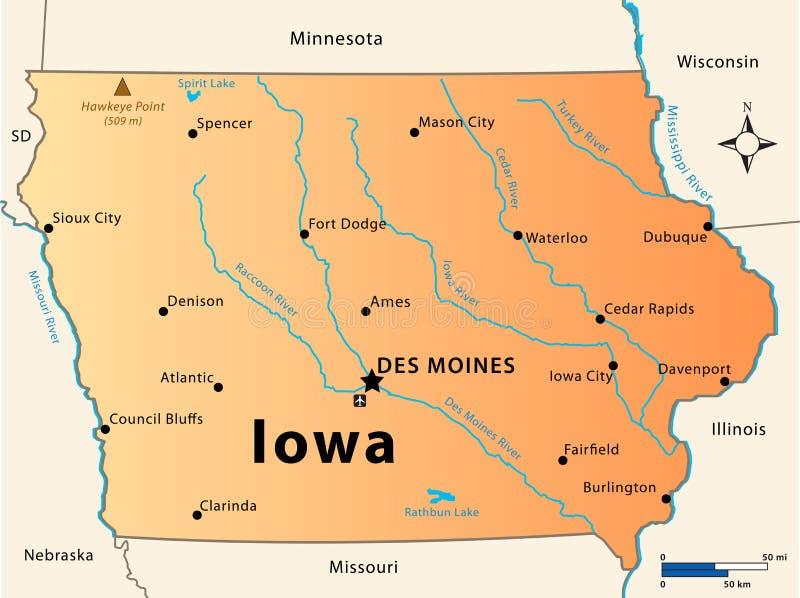 Mappa dello Iowa illustrazione di stock