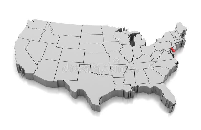 Mappa dello stato del Delaware, U.S.A. illustrazione vettoriale