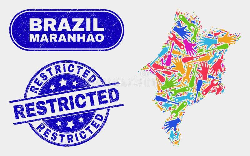 Mappa dello stato del Maranhao di produttività e guarnizioni limitate graffiate del bollo illustrazione di stock