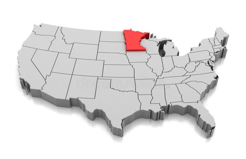 Mappa dello stato del Minnesota, U.S.A. illustrazione di stock