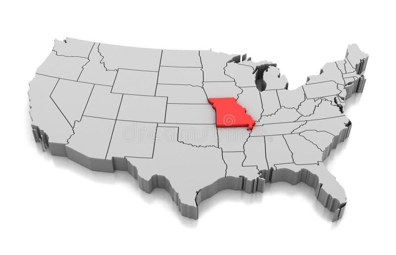 Mappa dello stato del Missouri, U.S.A. illustrazione vettoriale