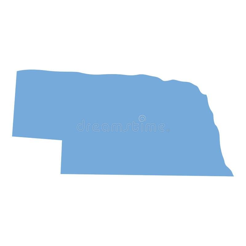 Mappa dello stato del Nebraska illustrazione vettoriale