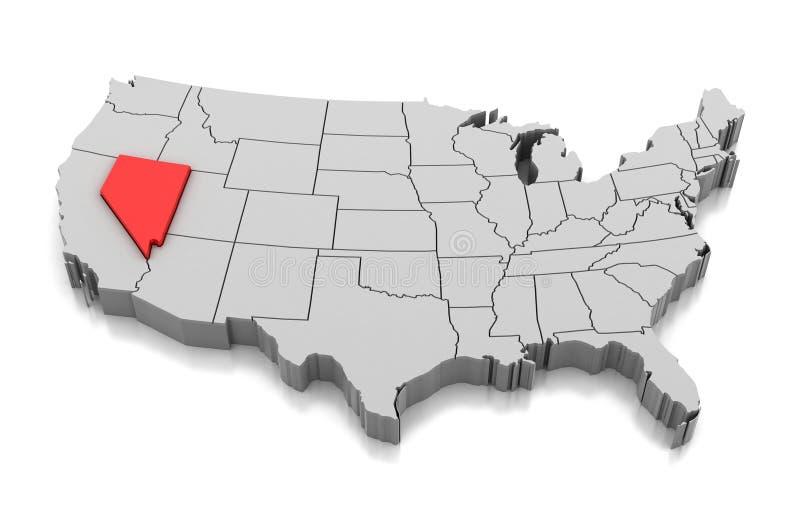 Mappa dello stato del Nebraska, U.S.A. illustrazione di stock