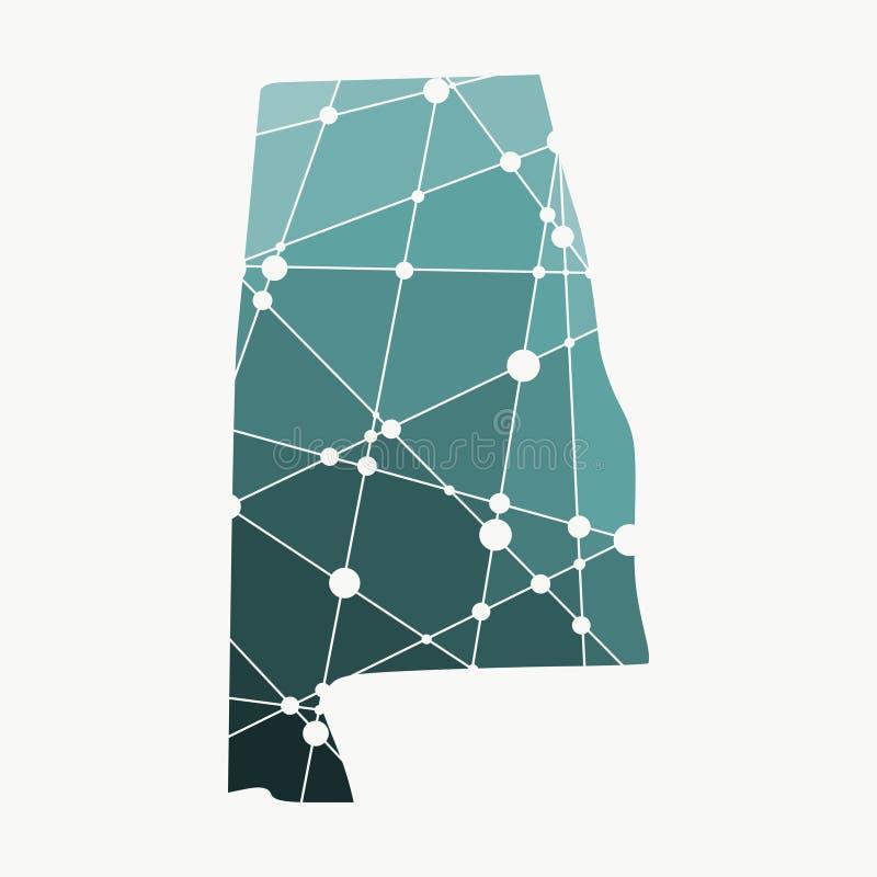 Mappa dello stato dell'Alabama illustrazione di stock