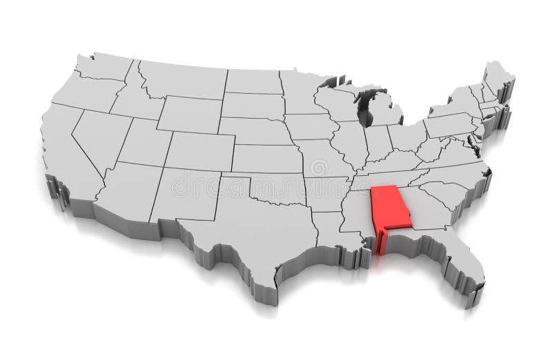 Mappa dello stato dell'Alabama, U.S.A. illustrazione di stock