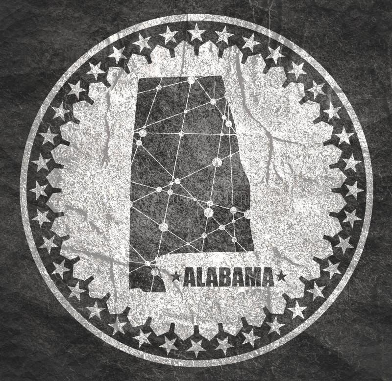 Mappa dello stato dell'Alabama illustrazione vettoriale