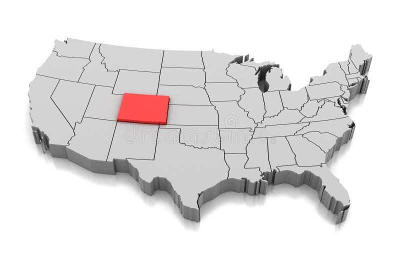 Mappa dello stato di Colorado, U.S.A. illustrazione di stock