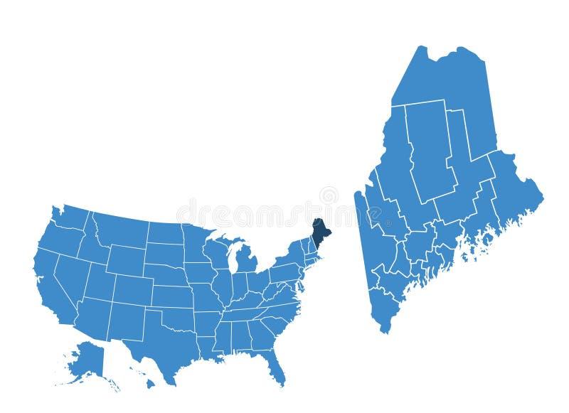 Mappa dello stato di Maine illustrazione vettoriale
