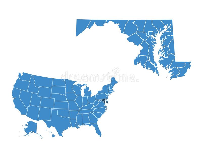 Mappa dello stato di Maryland illustrazione di stock