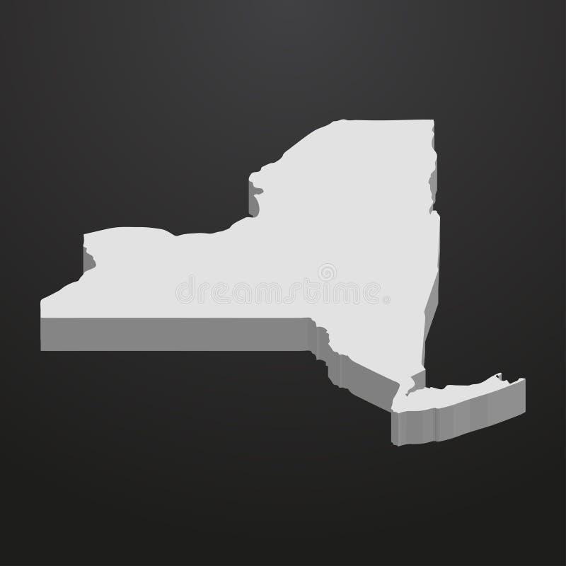 Mappa dello Stato di New York nel gray su un fondo nero 3d illustrazione vettoriale