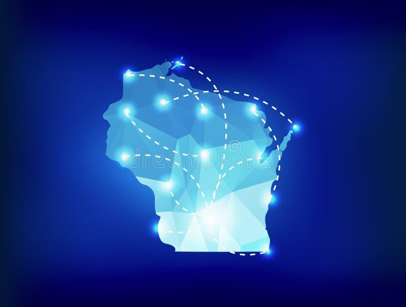 Download Mappa Dello Stato Di Wisconsin Poligonale Con I Posti Dei Riflettori Illustrazione Vettoriale - Illustrazione di collegato, programma: 56892443