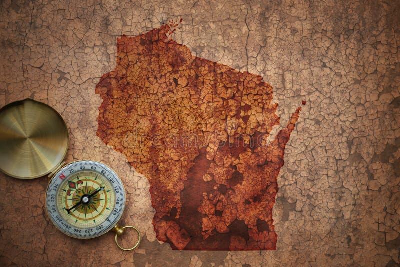 Mappa dello stato di Wisconsin su una vecchia carta d'annata della crepa immagine stock libera da diritti