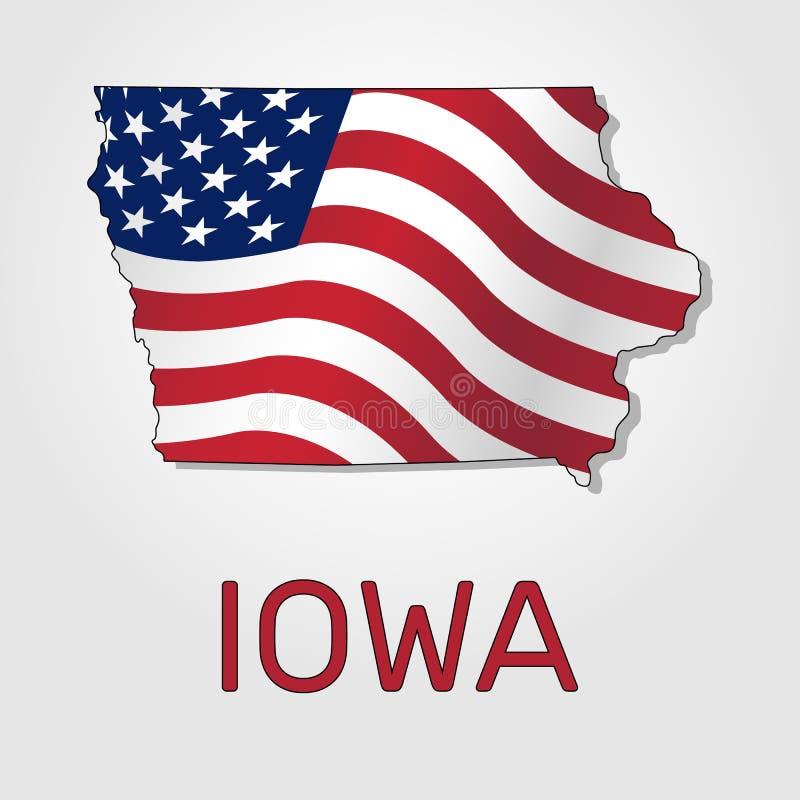 Mappa dello stato dello Iowa congiuntamente alla a che ondeggia la bandiera degli Stati Uniti - vettore royalty illustrazione gratis