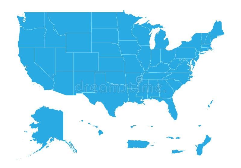 Mappa dello stato unito dei territori dell'America Alta mappa dettagliata di vettore - stato unito dei territori dell'America illustrazione vettoriale