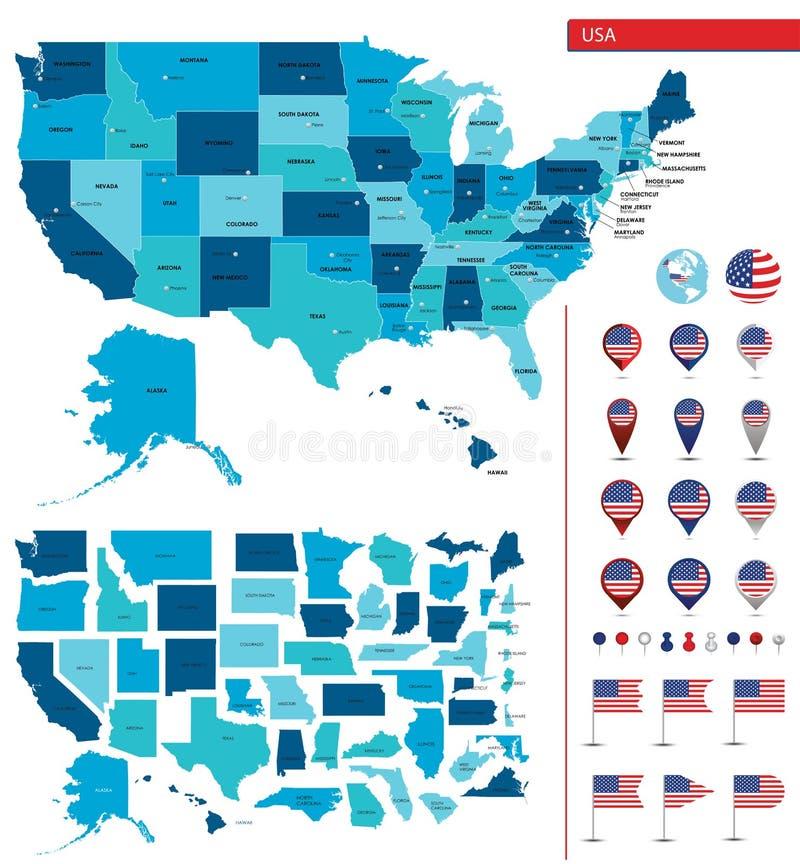 Mappa dettagliata degli Stati Uniti d'America Grandi sities Icone, indicatori di posizione illustrazione vettoriale