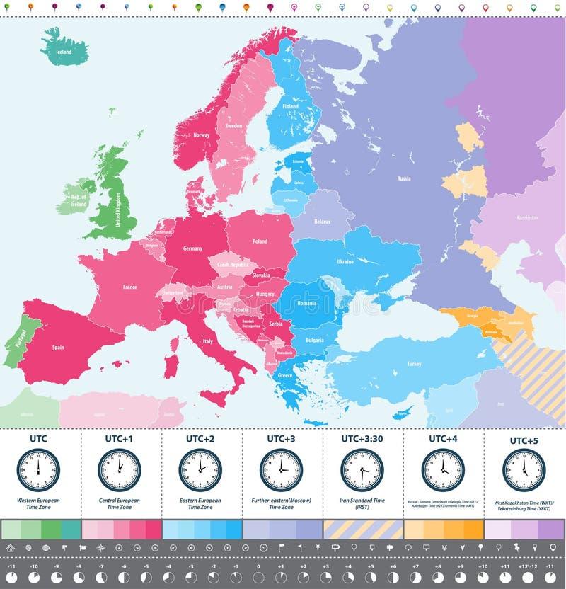 Mappa dettagliata delle fasce orarie di Europa alta con le icone dell'orologio e di posizione illustrazione di stock