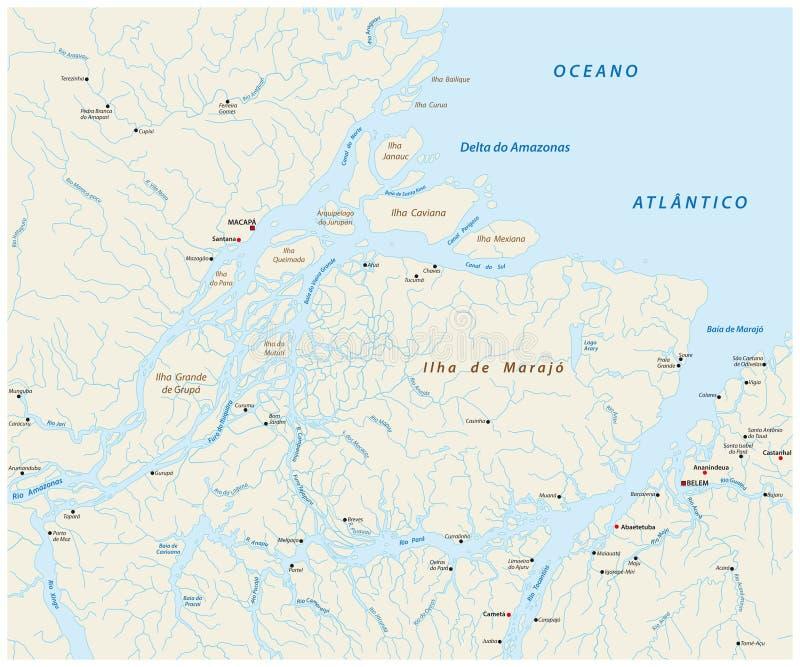 Mappa dettagliata di vettore della bocca del Rio delle Amazzoni nell'Oceano Atlantico, Brasile illustrazione di stock