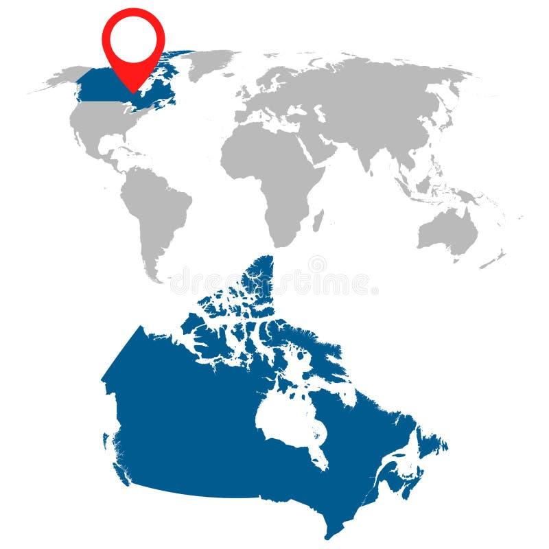 Mappa dettagliata insieme di navigazione di mappa di mondo e del Canada Vettore piano illustrazione vettoriale