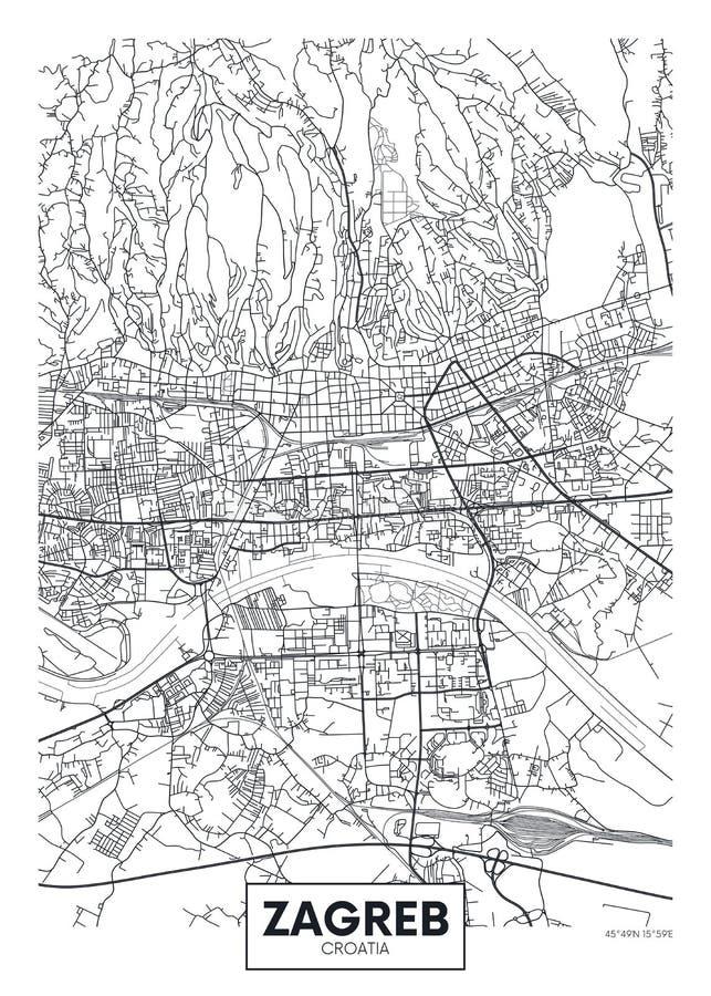 Mappa dettagliata Zagabria della città del manifesto di vettore royalty illustrazione gratis