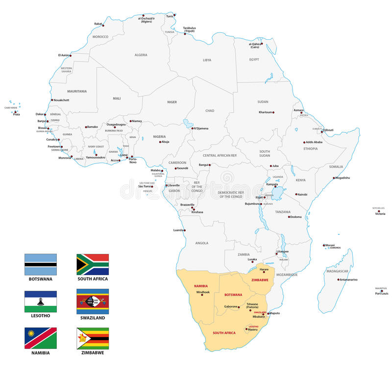 Mappa di Africa del Sud con le bandiere illustrazione di stock