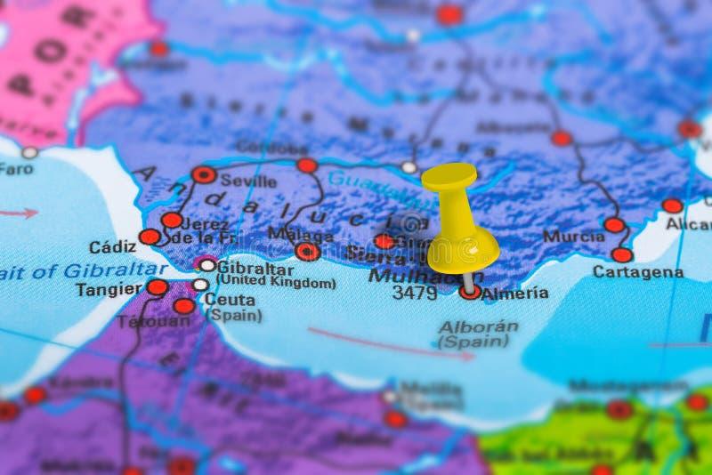 Mappa di Almeria Spain fotografie stock