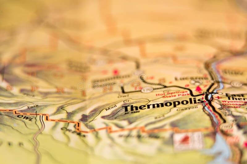 Mappa di area degli S.U.A. della città di Thermopolis Wyoming immagine stock