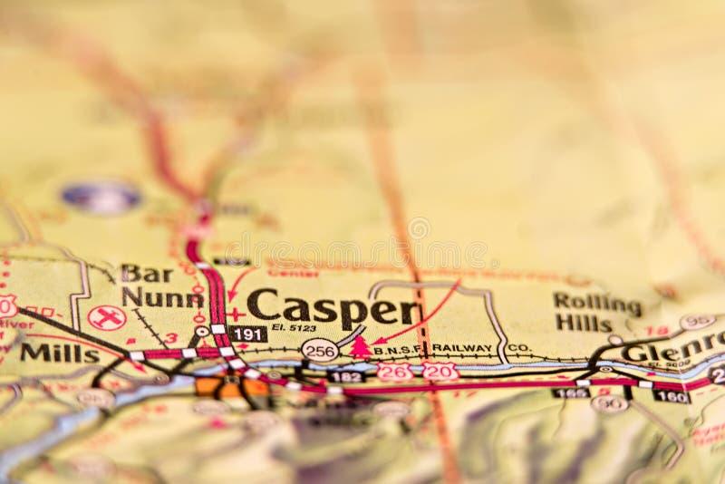 Mappa di area di Casper Wyoming S.U.A. immagine stock