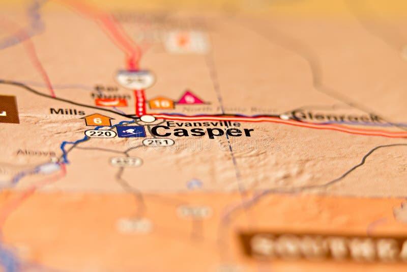 Mappa di area di Casper Wyoming S.U.A. immagini stock