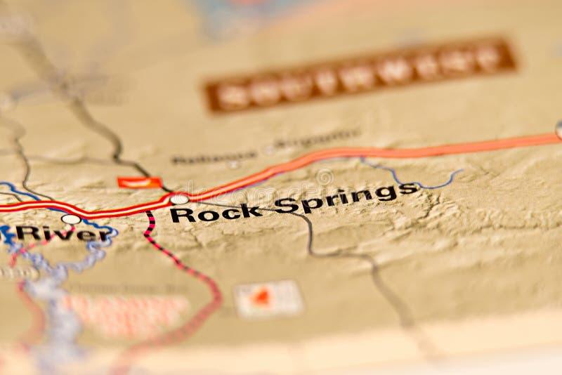Mappa di area di Rock Springs Wyoming S.U.A. fotografia stock libera da diritti