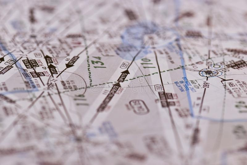 Mappa di aviazione per gli aerei di linea ed i getti privati fotografie stock